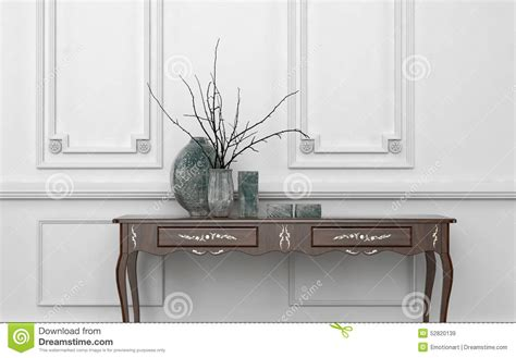3d Architectural Floor Plans Vintage Style Console Table In A Classic Room Stock