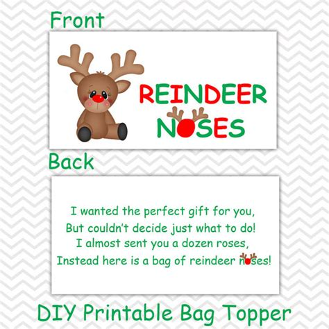 free printable reindeer food bag topper christmas reindeer noses personalized diy christmas