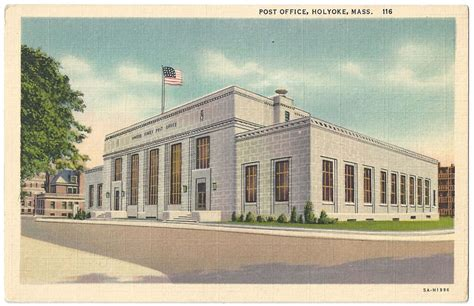 Hurst Post Office by Postcard Collection Holyoke Landmarks Wistariahurst Museum