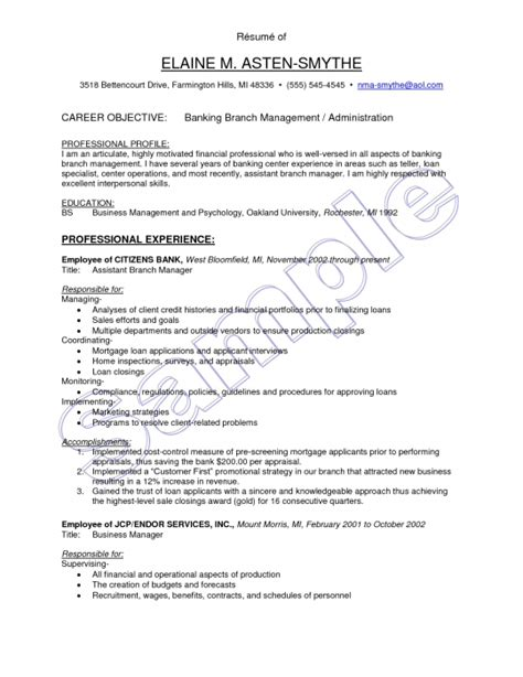 resume objective exles branch manager bank branch manager resume resume format web