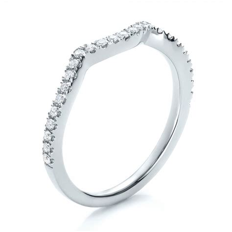 contemporary curved shared prong wedding band 100411