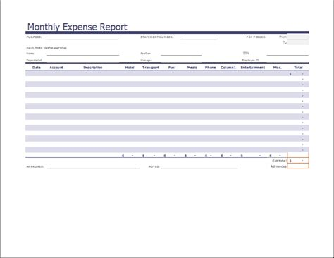 Ms Excel Monthly Expense Report Template Word Excel Templates Expense Report Template Word