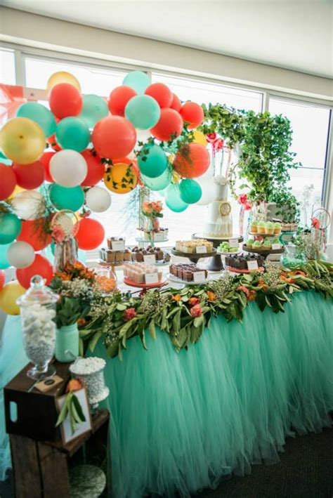 mintcoral  gold boho themed christening   perfect
