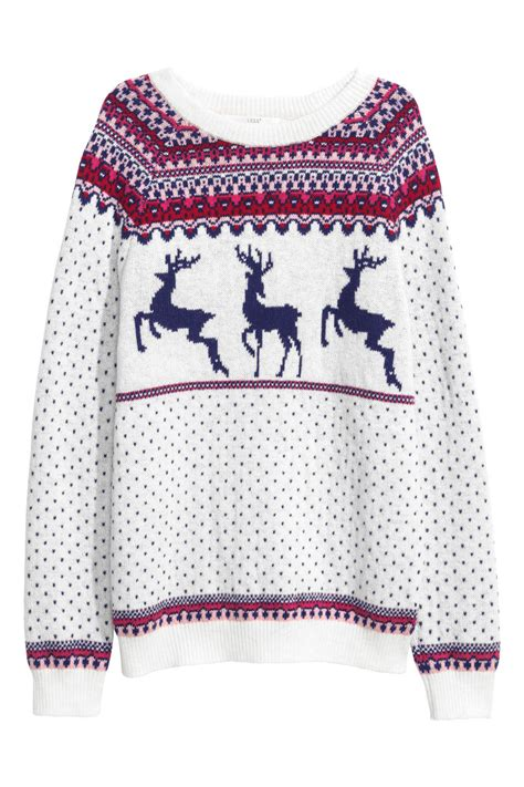 Hm Sweater Deer Fit L jacquard knit sweater white reindeer sale h m us