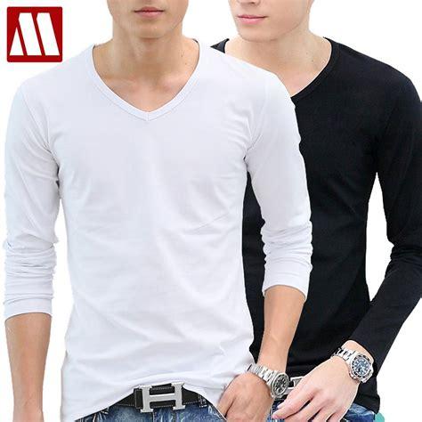 White Sleeved V Neck Shirt 1 cotton sleeve t shirt v neck white t shirt boys s clothing color basic