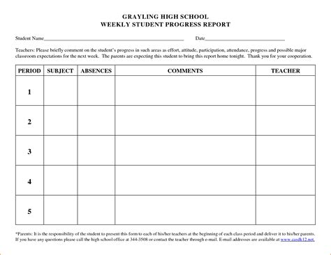 if template 8 student progress report template printable receipt