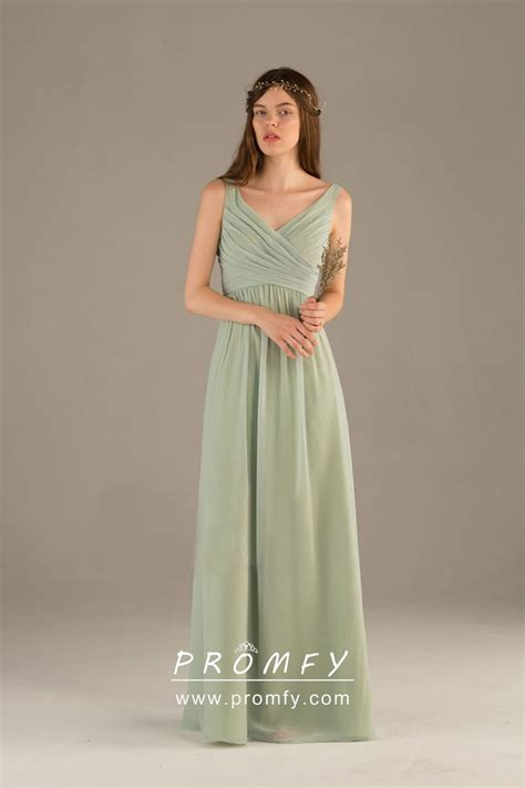sage green chiffon sleeveless  neck   long simple