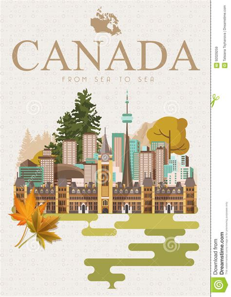 traveling to canada with a travel to canada canadian vector illustration with light background retro style
