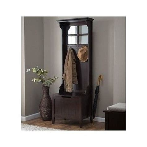 hallway bench with hooks wood hall tree coat rack storage bench seat mirror