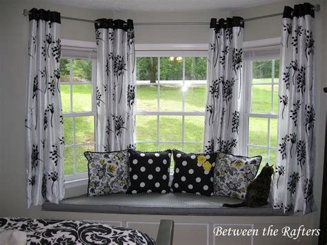do it yourself window curtain ideas home intuitive between the rafters do it yourself bay window curtain rod
