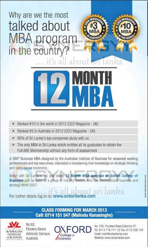 Davenport 12 Month Mba by 12 Month Mba Programme For Oxford College Of Business