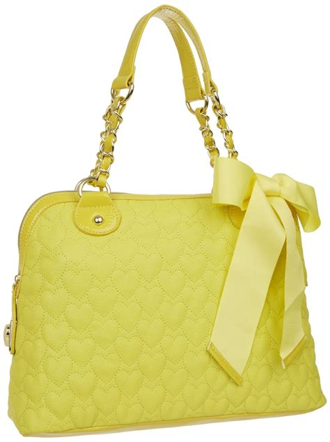 Betsey Johnson Handbag Quilted Satchel betsey johnson yellow be my one and only later quilted