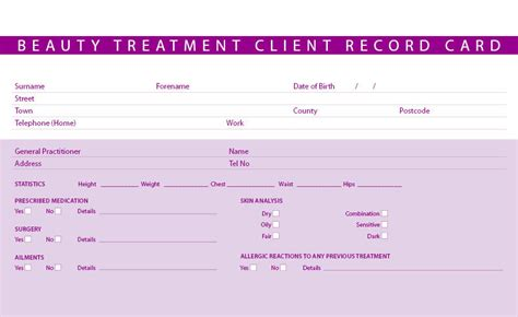 eyelash extensions record card template new treatment consultation client record cards ebay