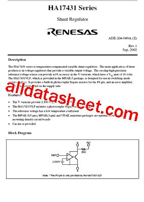 transistor ha174 datasheet ha17431vp datasheet pdf hitachi semiconductor