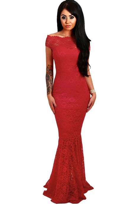 bardot lace fishtail maxi dress formal dresses