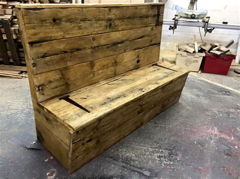 storage bench made from pallets pallet bench with storage in seat 99 pallets