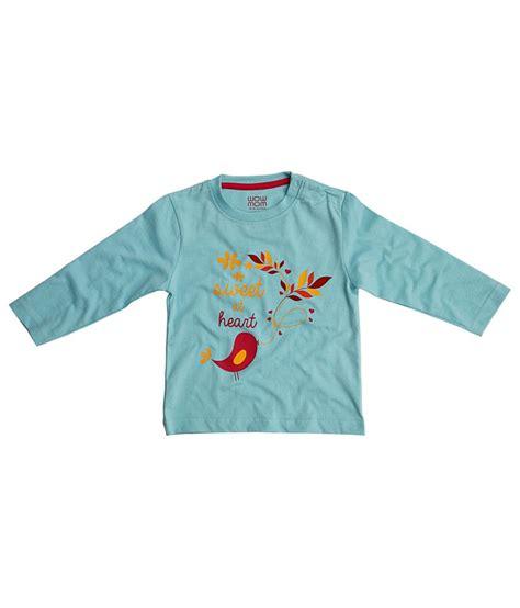 Design T Shirt Blue Cotton | wow mom blue cotton full sleeves graphic design t shirt