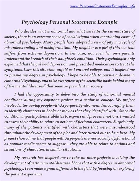 Stand Out With Psychology Personal Statement Examples