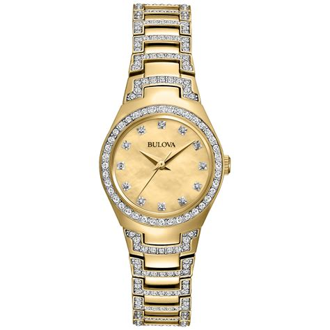 bulova womens accent goldtone stainless steel