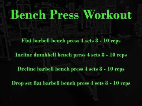 bench press workout routines chest bench press workout beginner workout routines