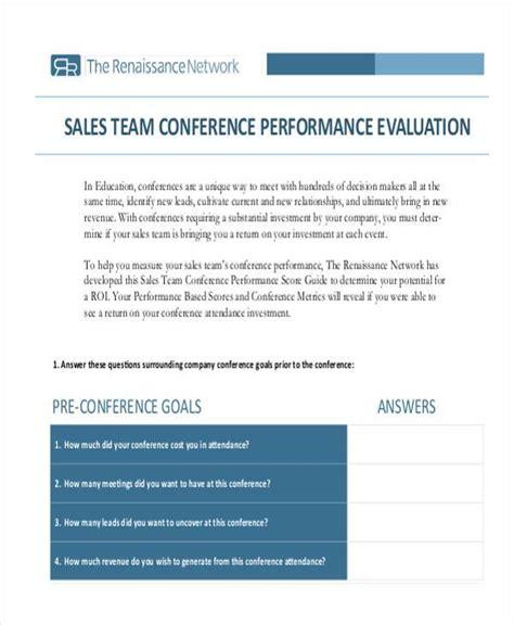 Appraisal Letter To Sales Team evaluation form exles