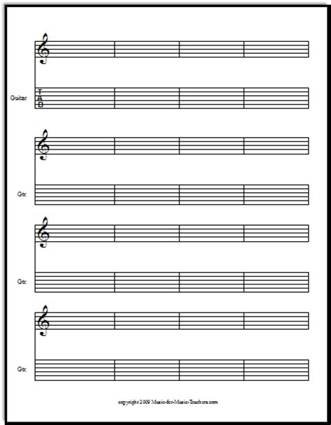 printable staff paper for guitar free guitar tablature paper for teachers downloadable and