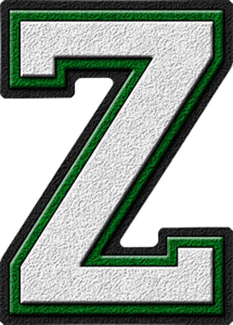 College With Letter Z Presentation Alphabets White Green Varsity Letter Z