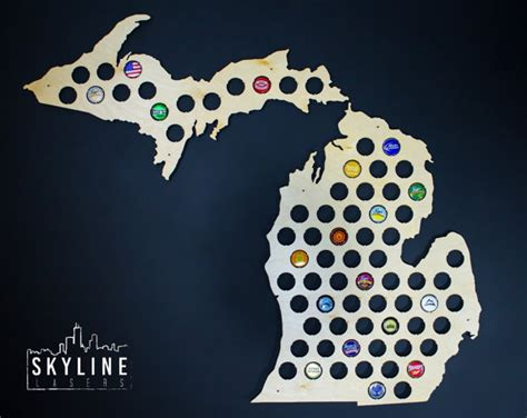 michigan crafts for michigan cap map mi glossy bottle cap map holder