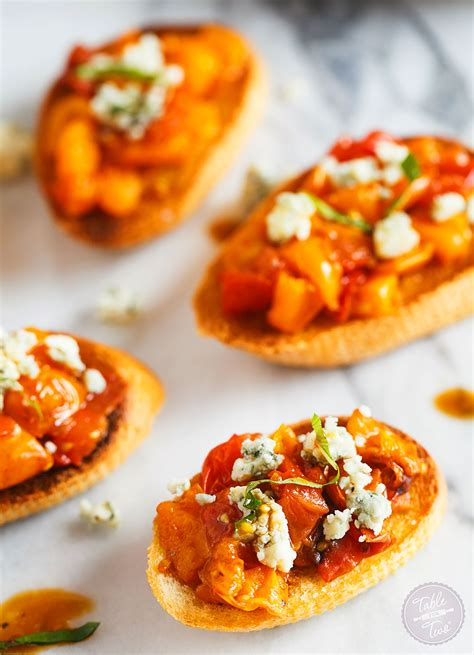 appetizers crostini roasted balsamic tomato crostini table for two