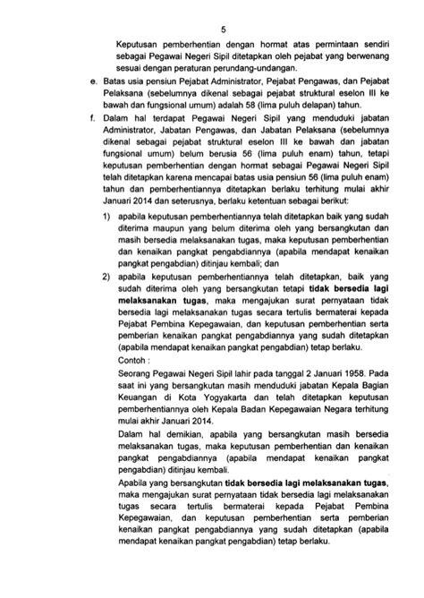 surat edaran kepala bkn tentang batas usia pensiun