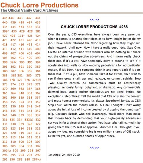 Chuck Lorre Vanity Cards Censored by Seen On Tv The Vanity Card Discovery Jedemi