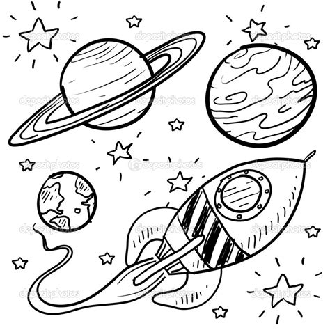 doodle rocket planet coloring pages of a black and white 17710