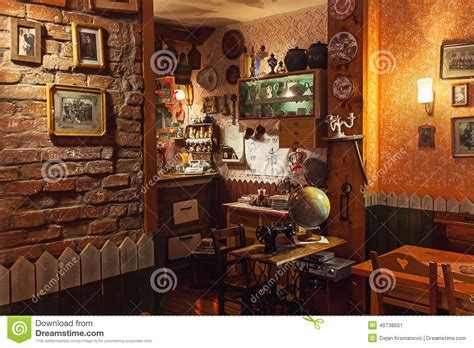 retro interior design cafe serbian restaurant editorial photo image 49738651