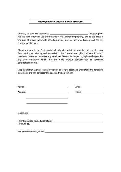 photographic release form template 53 free photo release form templates word pdf ᐅ