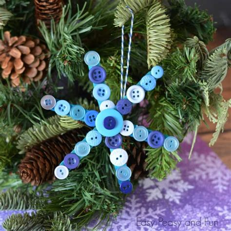 craft stick  buttons snowflake christmas ornament