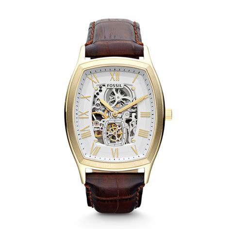 Fossil Me 1122 Gold Brown fossil ansel brown croc leather gold tone white automatic skeleton me3026 ebay