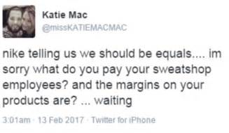 sweatshop wages nike slammed as hypocritical for equality ad daily mail