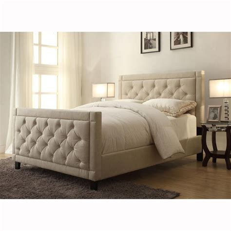 natural linen queen size button tufted upholstered bed upholstered beds furniture headboard
