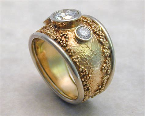 Handcrafted Gold Rings - handcrafted wedding rings with spherical granulation and