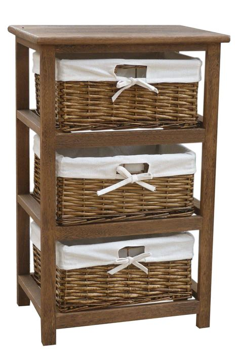 storage cabinets with wicker baskets bentley home wooden storage cabinets with 3 wicker basket