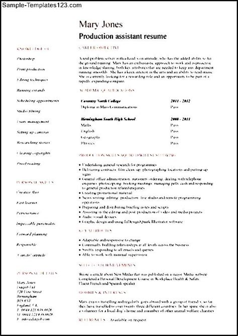 Resume Templates For Production Production Assistant Resume Sle Sle Templates