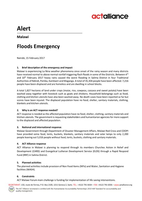 Donation Letter For Calamity Victims malawi act alliance alert floods emergency malawi reliefweb