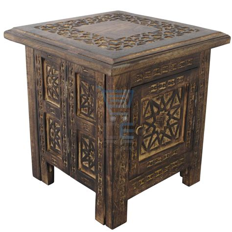 small square side table small square side table moroccan style carving storage