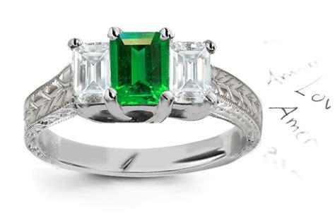 engraved filigree antique emerald engagement rings
