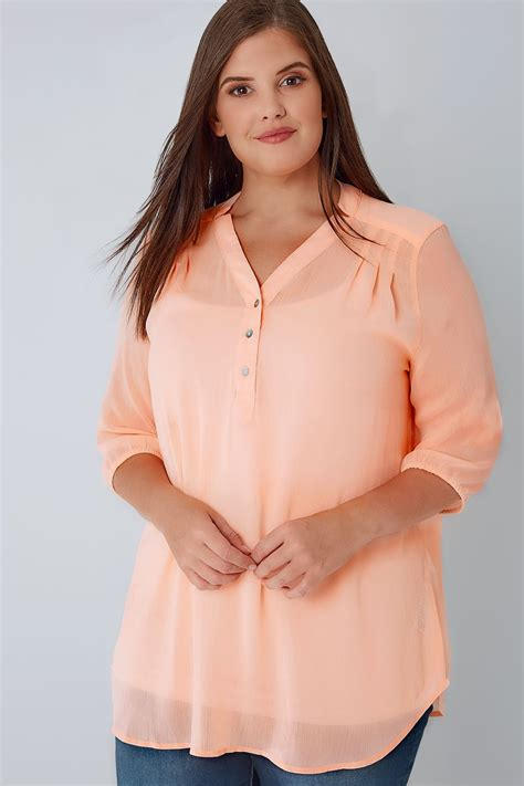 P Blouse Tunik Calista 1 coral sheer chiffon button up blouse with 3 4 length sleeves plus size 18 to 30