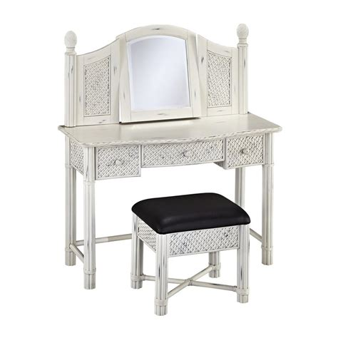 Black And White Makeup Vanity Shop Home Styles Marco Island Rubbed White Black Makeup Vanity And Stool At Lowes