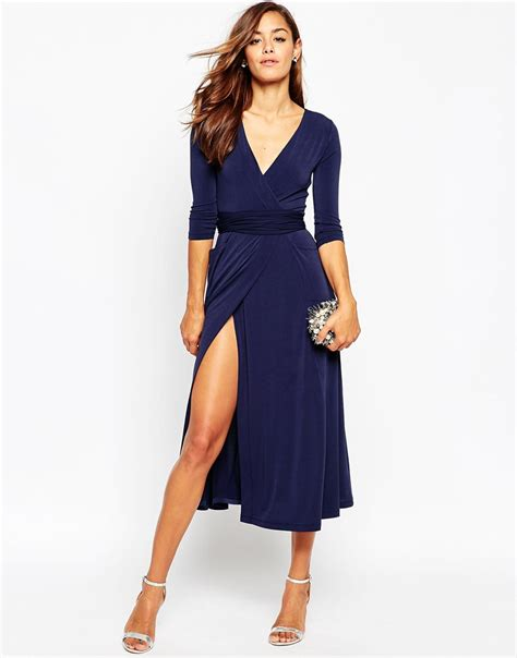 Asos Vintage Style Scarf Clutch 2 by Asos Wrap Maxi Dress In Jersey Crepe In Blue Navy Lyst