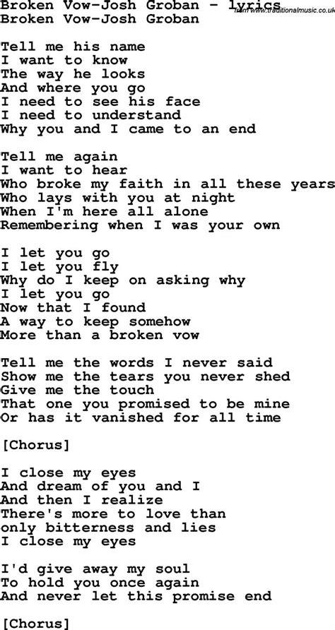 Wedding Song Josh Groban by Song Lyrics For Broken Vow Josh Groban Sing Me A