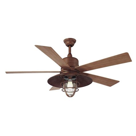 rustic ceiling fans with lights hton bay metro 54 in indoor outdoor rustic copper