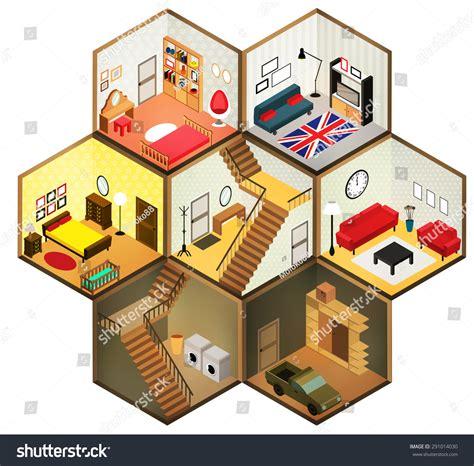 Living Room Flat Design Vector Flat 3d Isometric Abstract Interior Living Stock Vector
